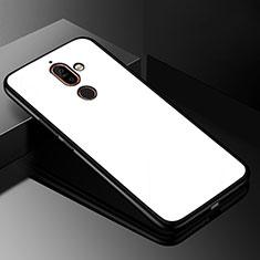 Nokia 7 Plus用ハイブリットバンパーケース プラスチック 鏡面 カバー M01 ノキア ホワイト