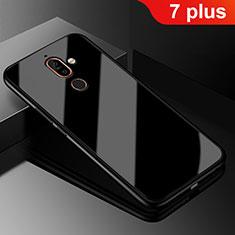 Nokia 7 Plus用ハイブリットバンパーケース プラスチック 鏡面 カバー M01 ノキア ブラック