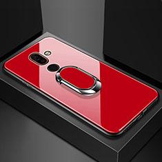 Nokia 7 Plus用ハイブリットバンパーケース プラスチック 鏡面 カバー アンド指輪 ノキア レッド
