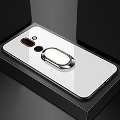 Nokia 7 Plus用ハイブリットバンパーケース プラスチック 鏡面 カバー アンド指輪 ノキア ホワイト