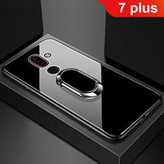 Nokia 7 Plus用ハイブリットバンパーケース プラスチック 鏡面 カバー アンド指輪 ノキア ブラック