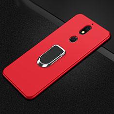 Nokia 7 Plus用極薄ソフトケース シリコンケース 耐衝撃 全面保護 アンド指輪 マグネット式 バンパー A01 ノキア レッド