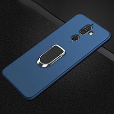 Nokia 7 Plus用極薄ソフトケース シリコンケース 耐衝撃 全面保護 アンド指輪 マグネット式 バンパー A01 ノキア ネイビー