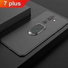 Nokia 7 Plus用極薄ソフトケース シリコンケース 耐衝撃 全面保護 アンド指輪 マグネット式 バンパー A01 ノキア ブラック