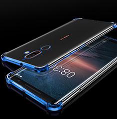 Nokia 7 Plus用極薄ソフトケース シリコンケース 耐衝撃 全面保護 クリア透明 H01 ノキア ネイビー