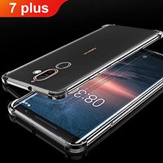 Nokia 7 Plus用極薄ソフトケース シリコンケース 耐衝撃 全面保護 クリア透明 H01 ノキア ブラック