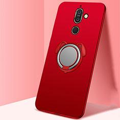 Nokia 7 Plus用極薄ソフトケース シリコンケース 耐衝撃 全面保護 アンド指輪 マグネット式 バンパー A02 ノキア レッド