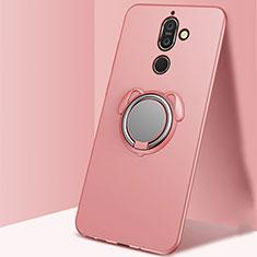 Nokia 7 Plus用極薄ソフトケース シリコンケース 耐衝撃 全面保護 アンド指輪 マグネット式 バンパー A02 ノキア ローズゴールド