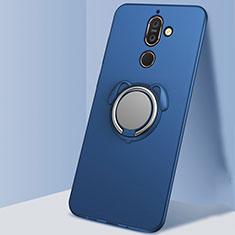 Nokia 7 Plus用極薄ソフトケース シリコンケース 耐衝撃 全面保護 アンド指輪 マグネット式 バンパー A02 ノキア ネイビー