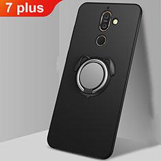 Nokia 7 Plus用極薄ソフトケース シリコンケース 耐衝撃 全面保護 アンド指輪 マグネット式 バンパー A02 ノキア ブラック