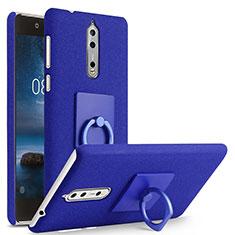 Nokia 8用ハードケース カバー プラスチック アンド指輪 ノキア ネイビー