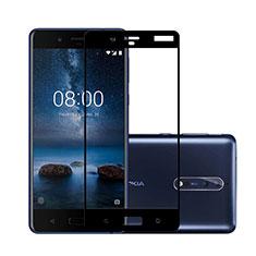 Nokia 8用強化ガラス フル液晶保護フィルム ノキア ブラック