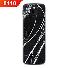 Nokia 8110 (2018)用シリコンケース ソフトタッチラバー ライン カバー ノキア ブラック