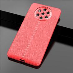 Nokia 9 PureView用シリコンケース ソフトタッチラバー レザー柄 ノキア レッド