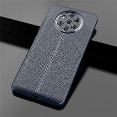 Nokia 9 PureView用シリコンケース ソフトタッチラバー レザー柄 ノキア ネイビー