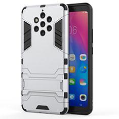 Nokia 9 PureView用ハイブリットバンパーケース スタンド プラスチック 兼シリコーン カバー ノキア ホワイト