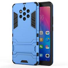 Nokia 9 PureView用ハイブリットバンパーケース スタンド プラスチック 兼シリコーン カバー ノキア ブルー