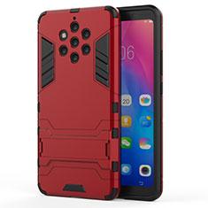 Nokia 9 PureView用ハイブリットバンパーケース スタンド プラスチック 兼シリコーン カバー ノキア レッド