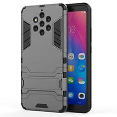 Nokia 9 PureView用ハイブリットバンパーケース スタンド プラスチック 兼シリコーン カバー ノキア グレー