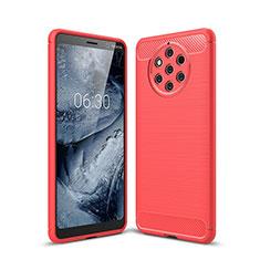 Nokia 9 PureView用シリコンケース ソフトタッチラバー ツイル カバー ノキア レッド