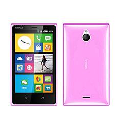 Nokia X2 Dual Sim用極薄ソフトケース シリコンケース 耐衝撃 全面保護 クリア透明 ノキア ピンク