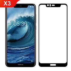 Nokia X3用強化ガラス フル液晶保護フィルム ノキア ブラック