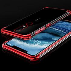 Nokia X5用極薄ソフトケース シリコンケース 耐衝撃 全面保護 クリア透明 H01 ノキア レッド