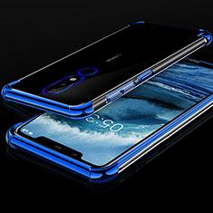 Nokia X5用極薄ソフトケース シリコンケース 耐衝撃 全面保護 クリア透明 H01 ノキア ネイビー