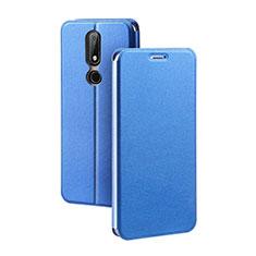 Nokia X5用手帳型 レザーケース スタンド ノキア ネイビー