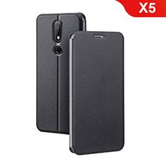 Nokia X5用手帳型 レザーケース スタンド ノキア ブラック
