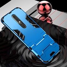 Nokia X5用ハイブリットバンパーケース スタンド プラスチック 兼シリコーン カバー ノキア ブルー