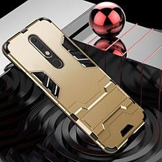 Nokia X5用ハイブリットバンパーケース スタンド プラスチック 兼シリコーン カバー ノキア ゴールド