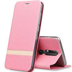 Nokia X5用手帳型 レザーケース スタンド L01 ノキア ローズゴールド