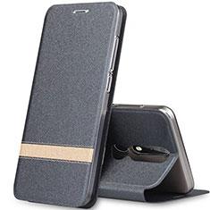 Nokia X5用手帳型 レザーケース スタンド L01 ノキア グレー