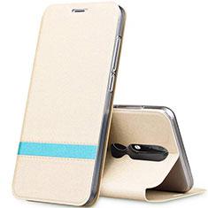 Nokia X5用手帳型 レザーケース スタンド L01 ノキア ゴールド