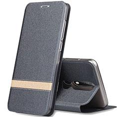 Nokia X5用手帳型 レザーケース スタンド L01 ノキア ダークグレー