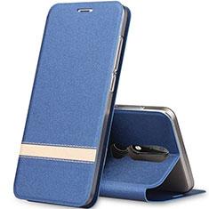 Nokia X5用手帳型 レザーケース スタンド L01 ノキア ネイビー