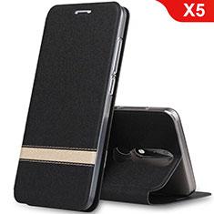 Nokia X5用手帳型 レザーケース スタンド L01 ノキア ブラック