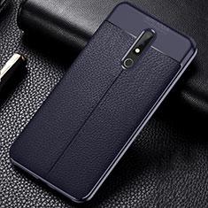 Nokia X5用シリコンケース ソフトタッチラバー レザー柄 ノキア ネイビー