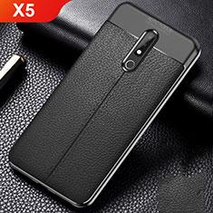 Nokia X5用シリコンケース ソフトタッチラバー レザー柄 ノキア ブラック
