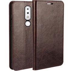 Nokia X6用手帳型 レザーケース スタンド ノキア ブラウン