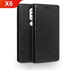 Nokia X6用手帳型 レザーケース スタンド ノキア ブラック