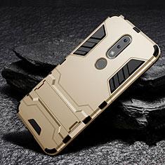 Nokia X6用ハイブリットバンパーケース スタンド プラスチック 兼シリコーン カバー ノキア ゴールド