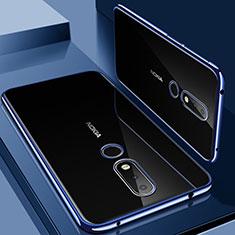 Nokia X6用極薄ソフトケース シリコンケース 耐衝撃 全面保護 クリア透明 H01 ノキア ネイビー
