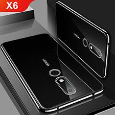 Nokia X6用極薄ソフトケース シリコンケース 耐衝撃 全面保護 クリア透明 H01 ノキア ブラック