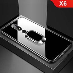 Nokia X6用ハイブリットバンパーケース プラスチック 鏡面 カバー アンド指輪 ノキア ブラック
