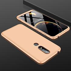 Nokia X6用ハードケース プラスチック 質感もマット 前面と背面 360度 フルカバー P01 ノキア ゴールド