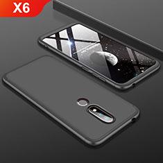 Nokia X6用ハードケース プラスチック 質感もマット 前面と背面 360度 フルカバー P01 ノキア ブラック