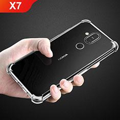 Nokia X7用極薄ソフトケース シリコンケース 耐衝撃 全面保護 クリア透明 T02 ノキア クリア