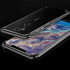 Nokia X7用極薄ソフトケース シリコンケース 耐衝撃 全面保護 クリア透明 H01 ノキア ブラック